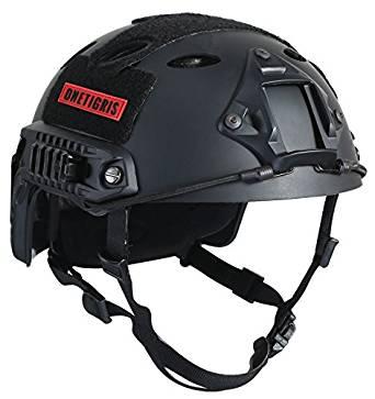 OneTigris アウトドア PJタイプ エアソフトヘルメット 米軍風レプリカ装備 多機能サバゲーヘルメット ロードバイク用 マウントレール付き かっこいいヘルメット オリジナル Fastヘルメット 調整可能 軽量 ブラック[cb]