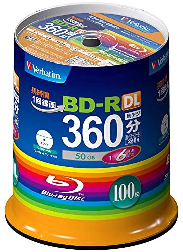 三菱ケミカルメディア Verbatim 1回録画用 BD-R VBR260RP100SV1 (片面2層/1-6倍速/100枚)[cb]
