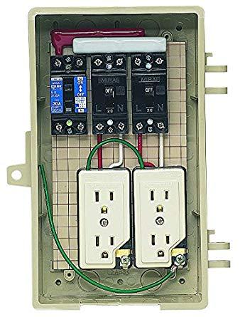 未来工業 屋外電力用仮設ボックス 漏電しゃ断器・分岐ブレーカ・コンセント内蔵 ELB組込品 2A-2CT[cb]