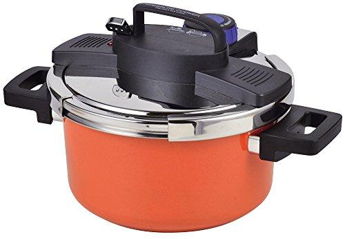パール金属 圧力鍋 4.2L IH対応 内面ふっ素加工 ワンタッチレバー切り替え式 NEWアルミ HB-3296[cb]
