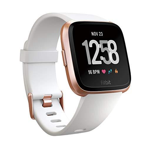 Fitbit フィットビット スマートウォッチ Versa 女性の体調管理 心拍 睡眠 パーソナルコーチ 耐水仕様 White Band/Rose Gold Alumium L/Sサイズ【日本正規品】 FB505RGWT-EU[cb]