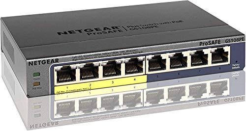 NETGEAR スイッチングハブ ギガビット PoEスイッチ 8ポート(PoE4ポート15.4W/全体53W) 外部電源 ファンレス静音 日本語GUI 無償永久保証 GS108PE-300JPS[cb]