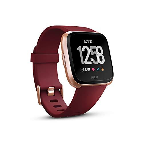 Fitbit フィットビット スマートウォッチ Versa 女性の体調管理 心拍 睡眠 パーソナルコーチ 耐水仕様 Ruby Band/Rose Gold Aluminum L/Sサイズ【日本正規品】 FB505RGRD-EU[cb]