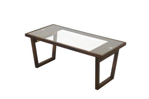 モダンビンテージ ミッドセンチュリースタイルの木製ガラステーブル Morvie モーヴィー フォールディングガラステーブル ブラウン