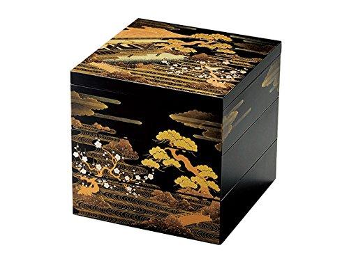 北市漆器店 山水蒔絵6.5三段重(黒)(A)KT2047A