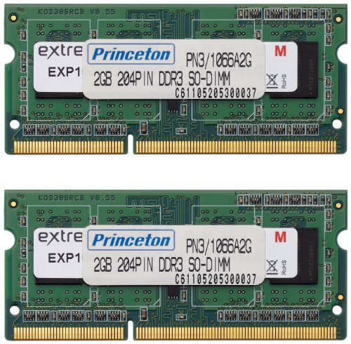 プリンストン DOS/V ノート用メモリ 4GB(2GBx2枚組) PC3-8500 DDR3-SDRAM (2Gbit/256x8) PDN3/1066-A2GX2