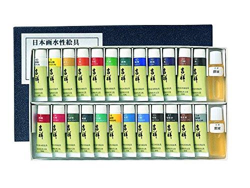 吉祥 日本画用絵具 チューブ絵具 24色セット