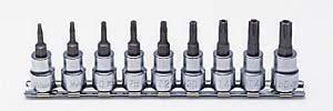 コーケン 3/8(9.5mm)SQ. イジリ止めトルクスビットソケットレールセット 全長50mm 9ヶ組 RS3025/9-HOLE
