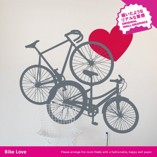 BLIK ウォールステッカー バイク・ラブ グラファイト/クラッシックレッド BL-HD-Bike