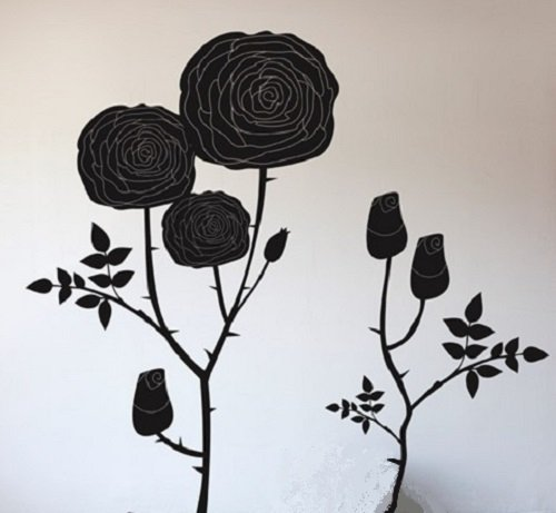 BLIK ウォールステッカー ローズ ブラック BL-ID-Rose