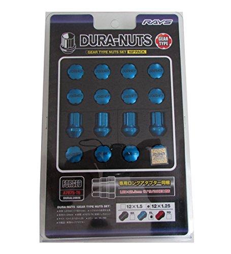 【RAYS(レイズ)】 ジュラルミンナットセット ギアタイプ(ショート) M12X1.25 BL(ブルー) 16個セット 74012000012BL