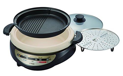 タイガー グリル鍋 深鍋・焼肉プレート&蒸し台付き ブラウン CQG-A200-T