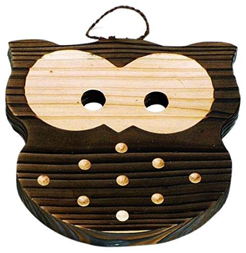 竹の精(Takenosei) 日本製 フクロウ 鍋敷 15×15×1.6cm 34220