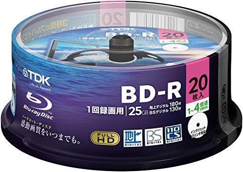 TDK 録画用ブルーレイディスク BD-R 1回録画用 25GB 1-4倍速 20枚スピンドル BRV25LPWB20PA
