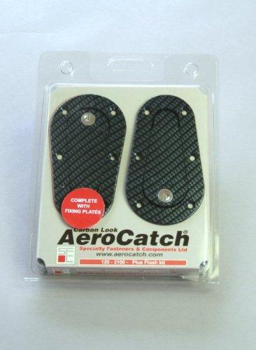 NEW AEROCATCH エアロキャッチ(カーボンルック)&NEWフィクシングプレート コンプリートキット プラスタイプ120-3100 KEY付