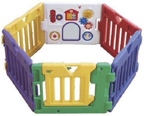 日本育児 ミュージカルキッズランドDX 組み立て時角から角約140cm、面から面約110cm 5010006001 お子様の興味を引くおもちゃパネル付のベビーサークル