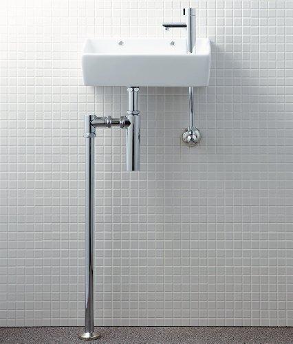 LIXIL(リクシル)INAX トイレ手洗 狭小手洗シリーズ ハイパーキラミック 床排水(ボトルトラップ)・床給水 BW1(ピュアホワイト) L-A35HQ