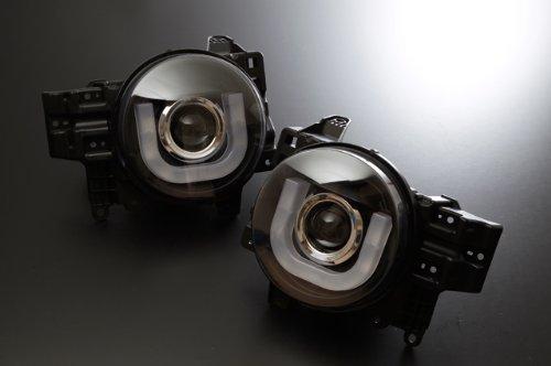 SONAR(ソナー) LED 切れ 水漏れ1年間保証付! LED ホワイトライトバーDRLスタイル プロジェクター ヘッドライト ブラックインナー FJクルーザー GSJ15W 北米仕様車
