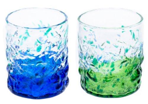 群星ロックグラス2個セット(青・緑)