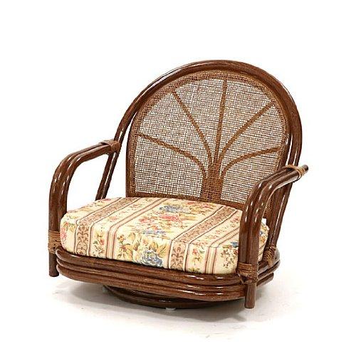 サンフラワーラタン 籐回転座椅子 ロータイプ ハニーブラウン C710HRJ1