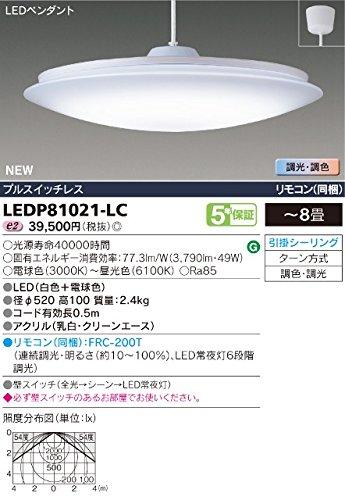 東芝(TOSHIBA) LEDペンダント 調光調色機能 8畳用 LEDP81021-LC