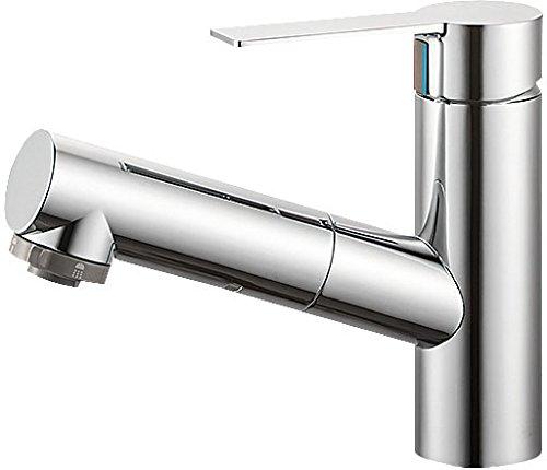 三栄水栓 【洗髪用】 シングルスプレー混合栓 ナット式 泡沫吐水