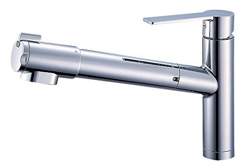 三栄水栓 キッチン用 シングル浄水器付ワンホールスプレー混合栓 ホース引き出し式