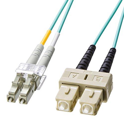 サンワサプライ OM3光ファイバケーブル LCコネクタ-SCコネクタ 2m HKB-OM3LCSC-02L