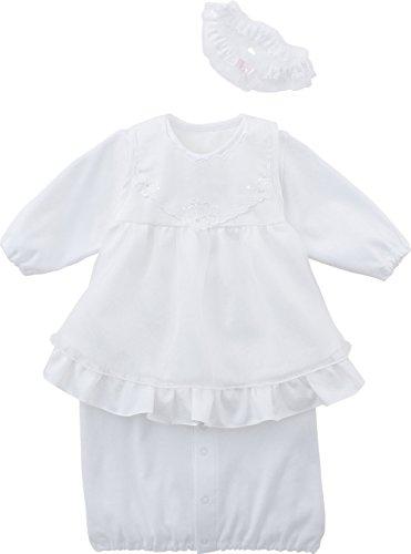 犬印本舗 INUJIRUSHI Baby 日本製 エプロン付ドレス&カバーオール 50-60cm ホワイト B246009