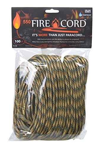 Live Fire Gear(ライブファイヤーギア) 550 Fire Cord(着火剤になる紐) 02-03-550f-0007 マルチカモ 100ft