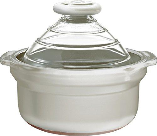 HARIO ( ハリオ ) フタ が ガラス の ご飯釜 WHITE 3合 kinari 生成 炊飯 土鍋 GN-200KW