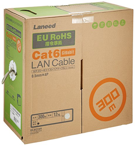 ELECOM LANケーブル CAT6 300m(リール巻) RoHS指令準拠 ライトグレー LD-CT6/LG300/RS