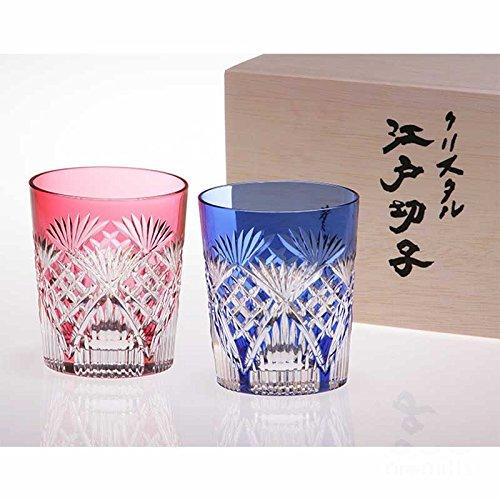 カガミクリスタル 江戸切子 笹っ葉に斜格子 紋 ペアマイグラス #2652