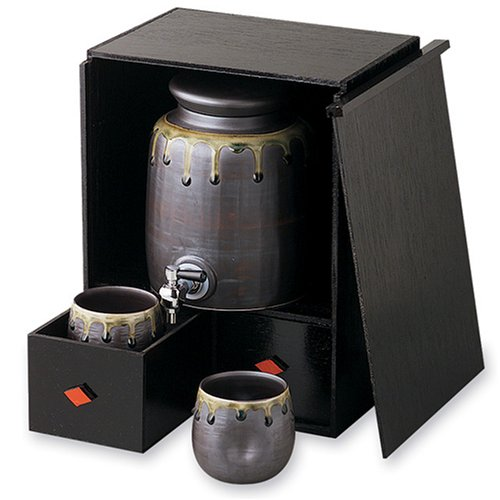 有田焼 織部 焼酎サーバーセット(焼酎サーバー(1900cc)1個 カップ2個 木箱1個)