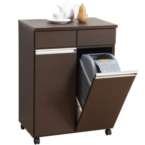 クロシオ ダイニングダストボックス2D ブラウン 約幅55cm 2分別ゴミ箱 ごみ箱[un]