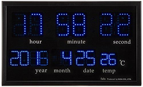 Felio(フェリオ) デジタル壁掛け時計 アギラ ブルーLED表示 カレンダー・温度表示 ブラック FEW120BK[un]
