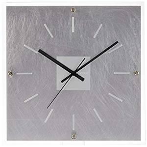フォーカス・スリー 置き時計 シルバー 29.5×29.5×5cm[un]