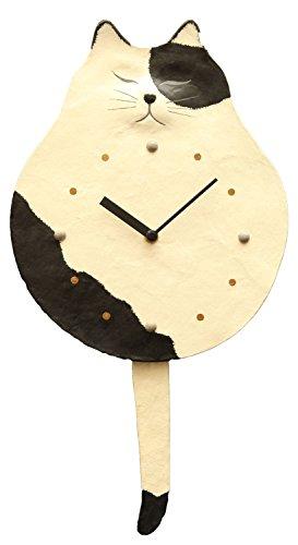 ひだまりのら 壁掛け時計 しっぽ振り 白黒 猫 時計 振り子 和紙 手すき クラフト 42×23×3cm[un]