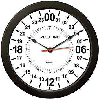 """(トリンテック) TRINTEC ズール(Zulu Time) 壁掛時計(白) 24時間 - 10"""" (24時間時計)[un]"""