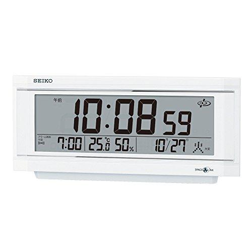 セイコー クロック 置き時計 衛星 電波 デジタル カレンダー 温度 湿度 表示 アラーム ライトつき SPACE LINK スペースリンク 白 パール GP501W SEIKO[un]
