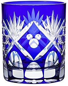 アデリア 切り子 ロックグラス 280ml ディズニー 江戸切子 籠目 瑠璃 ロックグラス 日本製 R-312[un]