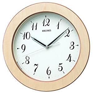 セイコー クロック 掛け時計 自動点灯 電波 アナログ 夜でも見える 木枠 天然色木地 KX216A SEIKO[un]