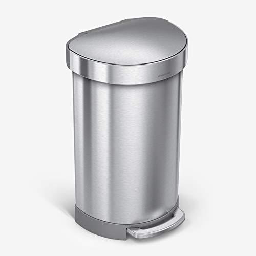simplehuman(シンプルヒューマン) セミラウンドステップゴミ箱 ライナーリム付き ステンレススチール 60リットル 16ガロン 45 L (12 Gal) CW2030[un]
