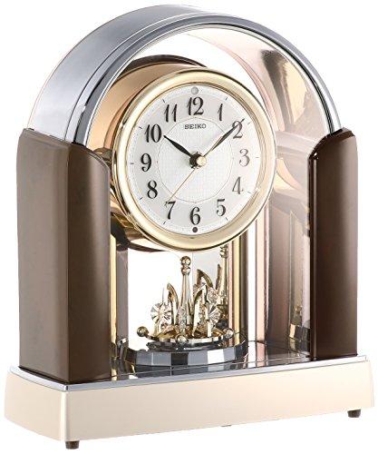 セイコー クロック 置き時計 スタンダード 電波時計 ツイン・パ 濃茶 マーブル 模様光沢仕上げ BY238B SEIKO[un]