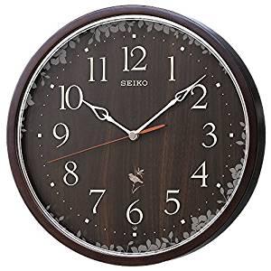 セイコー クロック 掛け時計 ネイチャーサウンド 12種類 電波 アナログ 報時 切替式 濃茶 木地 RX215B SEIKO[un]