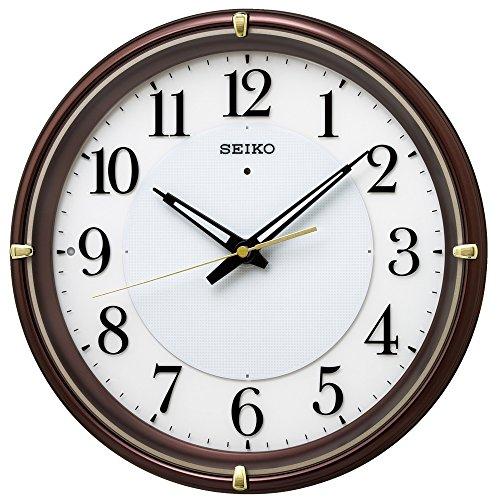 セイコー クロック 掛け時計 自動点灯 電波 アナログ 夜でも見える ファインライト NEO ネオ 茶 メタリック KX233B SEIKO[un]