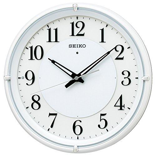 セイコー クロック 掛け時計 自動点灯 電波 アナログ 夜でも見える ファインライト NEO ネオ 白 パール KX233W SEIKO[un]