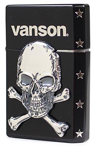 ギアトップ(Gear Top) ライター vanson クロスボーンスカル 日本製 2面加工 イオンコーティング ブラック×ニッケル V-GT-04[un]
