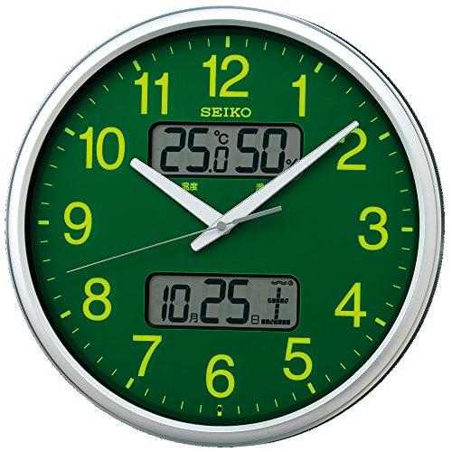 セイコー クロック 掛け時計 電波 アナログ 集光樹脂文字板 カレンダー 温度 湿度 表示 銀色 メタリック KX235H SEIKO[un]