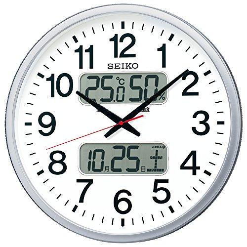 セイコー クロック 掛け時計 電波 アナログ カレンダー 温度 湿度 表示 銀色 メタリック KX237S SEIKO[un]